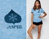 Ringer Tee Shirt ASPEN COLORADO Tshirt 1980s Vintage Snowflake Leaf Hipster T Shirt Graphic Tee Travel retro Tshirt Baby Blue Extra Small Xs