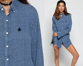 Button Up 90s Grunge Shirt Panhandle Slim Oversized Shirt OXFORD Blue Plain Simple 1990s Long Sleeve Vintage Normcore Large
