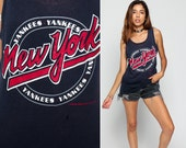 Baseball Tank Top NEW YORK YANKEES Shirt Ny 80s Sports Shirt Faded Distressed Graphic Cotton Vintage Retro Tee 1980s Small Medium