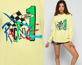 80s Sweatshirt FORD RACING Car Shirt Formula One Raglan Sleeve Slouch Hipster 90s Grunge Pullover 1980s Vintage Graphic Yellow Medium Large