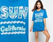 California T Shirt 80s Graphic Tshirt 90s SUN Vintage Beach Top Distressed Blue Aztec Hipster Thin 1980s Retro Tee Extra Large XL