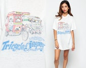Philippines Shirt 80s Graphic Tshirt TRICYCLE and JEEPNEY Top Filipino Asia T Shirt Burnout Vintage 1980s Retro Tee Car Extra Large XL