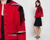 Blanket Jacket Marching Band Uniform FRINGE Jacket 80s Crop Boho Southwestern Ethnic 1980s Vintage Hipster Southwest Blazer Red Medium