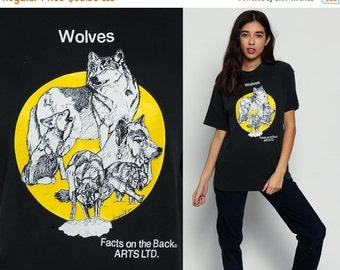 ON SALE WOLF TShirt Animal T Shirt Wolf Facts Wolf Pack 80s 90s Graphic Tshirt Howling Wolf Black Hipster Screenprint 1980s Retro Shirt Medi