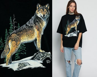 WOLF Tee Shirt 80s 90s Animal T Shirt Graphic Tshirt Black Hipster Grunge Screenprint 1980s Retro Tee Extra Large xl