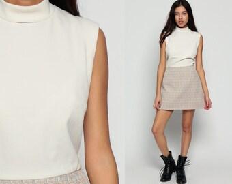 70s Mini Dress Mod High Neck White 60s High Waisted Vintage Turtleneck Checkered Print Preppy Sleeveless 1970s Twiggy Beige Large