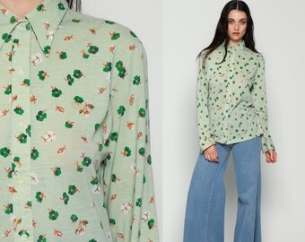 Floral Blouse Womens 70s Disco Boho Shirt Four Leaf CLOVER Print Button Up Top 1970s Hippie Vintage Collar Hipster Green Long Sleeve Large