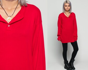 Long Sleeve Shirt BURNOUT Polo Red Henley T Shirt 90s Grunge Tshirt Distressed Under Shirt Hipster Retro Tee Vintage Normcore Plain Large xl