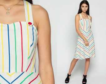 Sundress Rainbow Dress 70s Boho Striped CHEVRON Midi Open Back Criss Cross Sun 1970s Hippie Backless Bohemian High Waist White Small