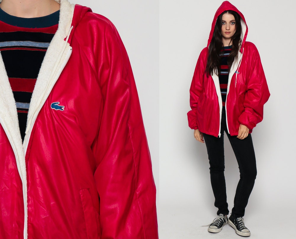 lacoste jacket 80s windbreaker hooded shiny nylon jacket red