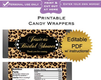 DIY editable printable candy wrappers (No.7) leopard bridal shower favors or baby shower PDF Digital File