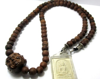 rare special thai bleassed old brown wood prayer beads matte onyx gemstone beads buddha amulet waterproof pendant necklace