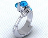 The Tenth Sonic - Solitare Ring, Sci Fi Jewelry, 10th Doctor Who Ring, Sonic Screwdriver Ring, Custom Created Ring,
