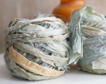 Sari Ribbon, Recycled Silk Sari Ribbon, Tiebacks, Baby Photography Prop, Prop Ribbon Yarn, Jewelry Making, Color #47
