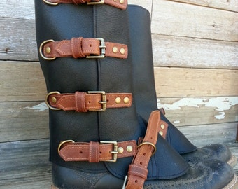 Steampunk Swiss Military Style Gaiters or Spats Two Tone Oiled Black with Brown Leather Trim and Antiqued Brass Hardware