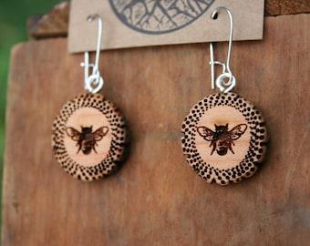 Wooden Honeybee Earrings- Sustainable Wood Jewelry- Juniper Wood Bee Earrings- Natural Wood Jewelry- Eco Earrings