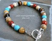 Men's Beaded Bracelet, Turquoise, Tiger Eye, Jasper, Red Blue Brown Stone Bracelet for Men, Southwestern, Native, Tribal, Casual Jewelry