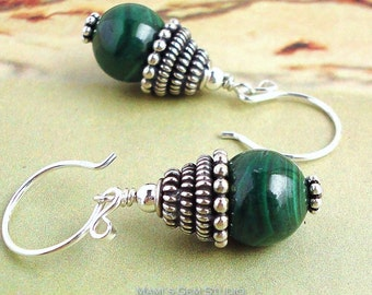 Genuine Malachite Earrings with Antiqued Bali Sterling Silver, Green Gemstone Drop Earrings, Round Hook, Handcrafted Jewelry