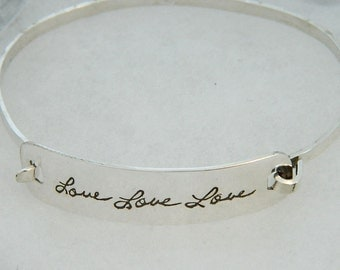 Handwriting Jewelry Sterling Silver Signature Bracelet