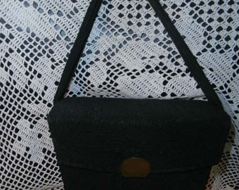Womens Purse/Handbag: Black Cord- Box Purse with Original Mirror Womens Antique Purse