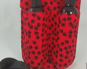 Massage Therapy Double bottle hip holster, Paws on red, Valentine, black belt