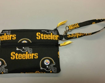 "Pittsburgh Steelers NFL stadium size wristlet purse 4.5"" x 6.5"""