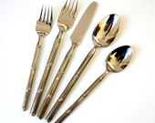 Stanley Roberts Tiburon 392 Stainless 55 Pc Flatware Set 70s VGC / Service for 8 Plus Hostess Pcs / Asian, Modern, MCM, Bamboo Pattern