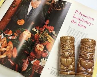 Vintage 1960s 70s Salt and Pepper Shaker Set / Orchids of Hawaii Ceramic Shaker Set / Mid Century Tiki Luau Polynesian Decor