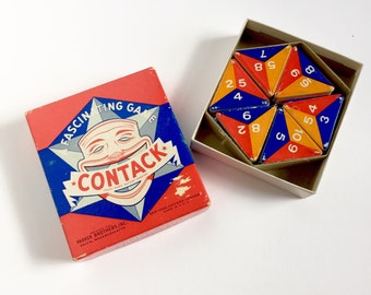 Vintage 1930s Game / Parker Brothers Contack 1939 VGC Complete / Plays Like Dominoes, 2 to 7 Players, Family Game