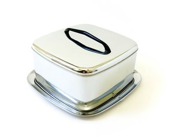 Vintage 1960s Cake Carrier / 60s Lincoln Beautyware Chrome Cake Storage and Carrier