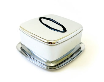 Vintage 1960s Cake Carrier / Lincoln Beautyware Chrome Cake Storage and Carrier / Retro Mid Century Kitchenware Food Storage