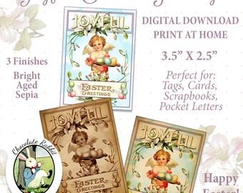 Easter Angel Tags Vintage Style Digital Download Printable Pocket Letters Gift Card Scrapbook DIY Image Graphics Clip Art Collage Sheet