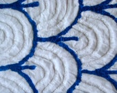 Royal Blue on White Art Deco Plush Vintage Cotton Chenille Bedspread Fabric 19 x 24 Inches