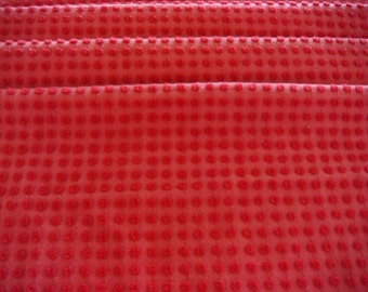 Morgan Jones Gorgeous Red Pops Vintage Chenille Bedspread Fabric 18 x 24 Inches