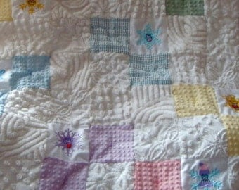 FLOATING SNOWFLAKES ~ a Made-to-Order Vintage Cotton Chenille Patchwork Quilt