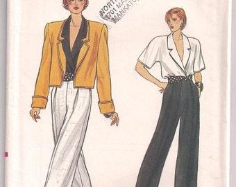 Vtg 80s Jacket Pants Blouse Vogue 9635 Jacket Pattern, Straight Leg Pleated Pants, Wrap Blouse, Shoulder Pads, Vintage Pattern, 8 10 12