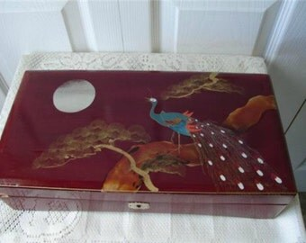 Vintage Hand Painted Lacquered Design Jewelry Box