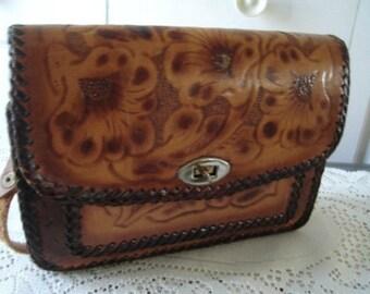 70s Tan Hand Tooled Genuine Leather Purse