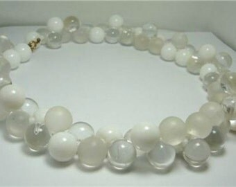 60s White, Mate & Clear Lucite Beads Necklace Bridal
