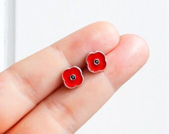 Red poppy earrings - red poppy handmade tiny enamel studs / posts