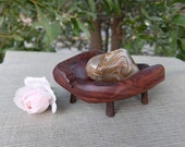 RESERVED until 15th of Feb. Wooden offering bowl holding Ribbon stone - magical ware - for your sacred space, ceremony or ritual