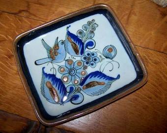 Tonala Tray, Folk Art, Bird and Butterfly, Mexican Pottery, Stoneware Plate, Mid Century Modern, Vintage