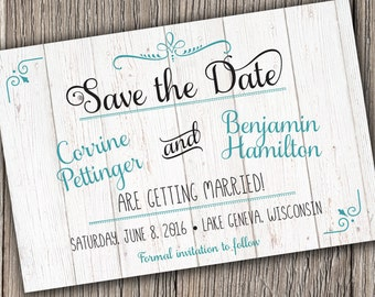 Save the Date postcard - Rustic Romantic Save the Date - Save the Date Cards - Wood, Script Save the Dates