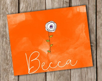 Personalized Notecards - Orange Personalized Note Cards - Flower Note Cards - Folded Note Cards - Set of 10 - Great Christmas Gift