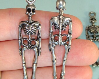 2 Skeleton Charms 57mm Pewter Silver USA Made 2 Sided Jewelry Supplies Bulk Charms Halloween Jewelry Creepy Skull and Bones 3D