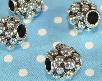 6 Silver Bead Spacers 8mm x 7mm Round Pewter Jewelry Supplies Antique Silver USA Made Bubble Bead for Bracelets Necklace 2mm Hole Bulk 2S