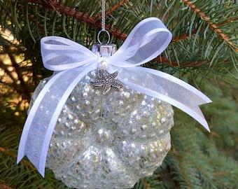 "Beach Decor Christmas Ornament, Nautical Decor Christmas Ornament, Sea Urchin Ornament, Coastal Christmas Ornament, Sea Urchin, 4"" GREEN"