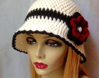 Crochet Hat for Woman, Off White and Black Cloche, Cream, Flower, Grey, Chemo, Brim, Button, Ivory, Cowboy Hat, Weddings, Party JE278CF11