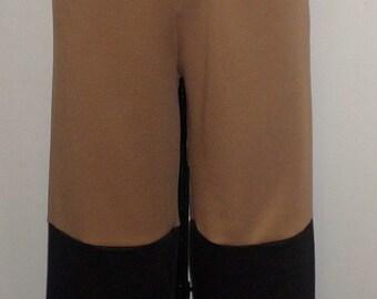 Plus Size Pants, Lagenlook, Coco and Juan, Plus Size Pant, Camel Black Ottoman Rib Knit Wide Leg Pant  Size 1 fits 1X,2X