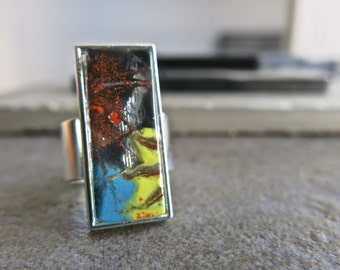 Fused Glass Hand Painted Modern Fashion Adjustable Ring, Abstract , APG, Silver Plated